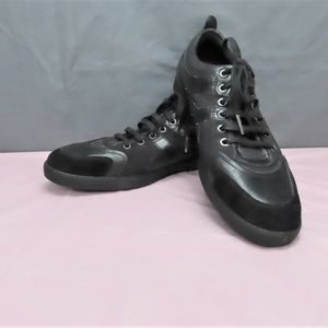 Men's Black Canvas and Leather Lace Up Shoes